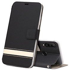 Handytasche Stand Schutzhülle Leder Hülle T07 für Huawei P30 Lite Schwarz