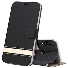 Handytasche Stand Schutzhülle Leder Hülle T07 für Huawei P30 Lite XL Schwarz