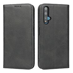 Handytasche Stand Schutzhülle Leder Hülle T10 für Huawei Honor 20 Schwarz