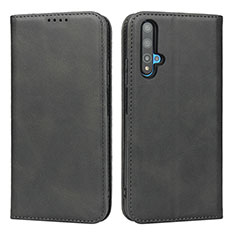 Handytasche Stand Schutzhülle Leder Hülle T10 für Huawei Nova 5T Schwarz