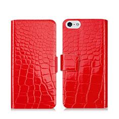 Handytasche Stand Schutzhülle Leder Krokodil für Apple iPhone 5 Rot