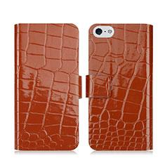 Handytasche Stand Schutzhülle Leder Krokodil für Apple iPhone 5S Braun
