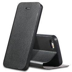 Handytasche Stand Schutzhülle Leder L01 für Apple iPhone SE Schwarz