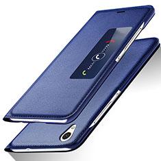Handytasche Stand Schutzhülle Leder L01 für Huawei Ascend P7 Blau