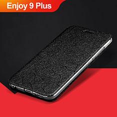 Handytasche Stand Schutzhülle Leder L01 für Huawei Enjoy 9 Plus Schwarz