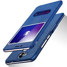 Handytasche Stand Schutzhülle Leder L01 für Huawei Honor V9 Play Blau