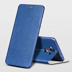 Handytasche Stand Schutzhülle Leder L01 für Huawei Mate 9 Blau