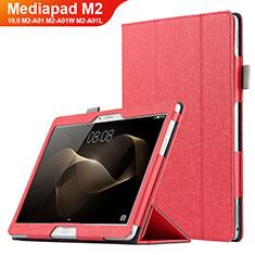 Handytasche Stand Schutzhülle Leder L01 für Huawei MediaPad M2 10.0 M2-A01 M2-A01W M2-A01L Rot