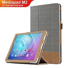 Handytasche Stand Schutzhülle Leder L01 für Huawei MediaPad M2 10.1 FDR-A03L FDR-A01W Grau