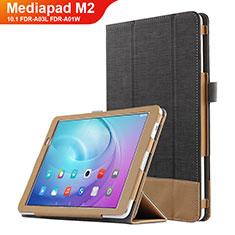 Handytasche Stand Schutzhülle Leder L01 für Huawei MediaPad M2 10.1 FDR-A03L FDR-A01W Schwarz