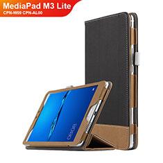 Handytasche Stand Schutzhülle Leder L01 für Huawei MediaPad M3 Lite 8.0 CPN-W09 CPN-AL00 Schwarz