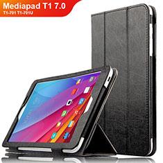 Handytasche Stand Schutzhülle Leder L01 für Huawei Mediapad T1 7.0 T1-701 T1-701U Schwarz