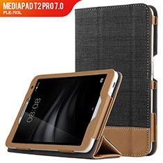Handytasche Stand Schutzhülle Leder L01 für Huawei MediaPad T2 Pro 7.0 PLE-703L Schwarz
