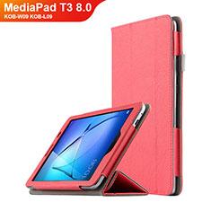 Handytasche Stand Schutzhülle Leder L01 für Huawei MediaPad T3 8.0 KOB-W09 KOB-L09 Rot