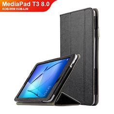 Handytasche Stand Schutzhülle Leder L01 für Huawei MediaPad T3 8.0 KOB-W09 KOB-L09 Schwarz