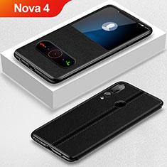 Handytasche Stand Schutzhülle Leder L01 für Huawei Nova 4 Schwarz