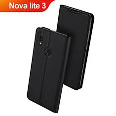 Handytasche Stand Schutzhülle Leder L01 für Huawei Nova Lite 3 Schwarz