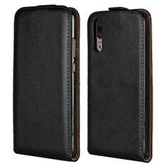 Handytasche Stand Schutzhülle Leder L01 für Huawei P20 Schwarz