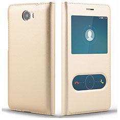 Handytasche Stand Schutzhülle Leder L01 für Huawei Y5 II Y5 2 Gold
