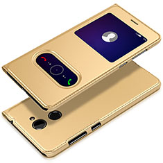 Handytasche Stand Schutzhülle Leder L01 für Huawei Y7 Prime Gold