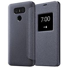 Handytasche Stand Schutzhülle Leder L01 für LG G6 Schwarz