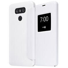 Handytasche Stand Schutzhülle Leder L01 für LG G6 Weiß