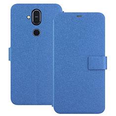 Handytasche Stand Schutzhülle Leder L01 für Nokia 7.1 Plus Blau