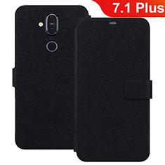 Handytasche Stand Schutzhülle Leder L01 für Nokia 7.1 Plus Schwarz