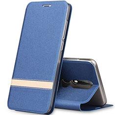 Handytasche Stand Schutzhülle Leder L01 für Nokia X5 Blau