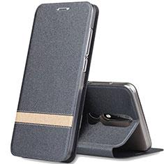 Handytasche Stand Schutzhülle Leder L01 für Nokia X5 Dunkelgrau