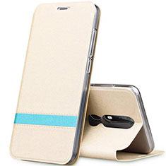 Handytasche Stand Schutzhülle Leder L01 für Nokia X5 Gold