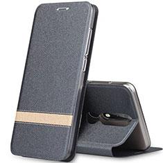 Handytasche Stand Schutzhülle Leder L01 für Nokia X5 Grau