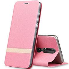 Handytasche Stand Schutzhülle Leder L01 für Nokia X5 Rosegold