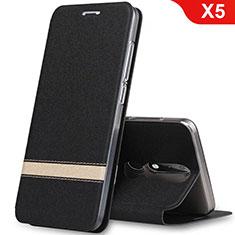 Handytasche Stand Schutzhülle Leder L01 für Nokia X5 Schwarz