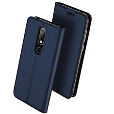 Handytasche Stand Schutzhülle Leder L01 für Nokia X6 Blau