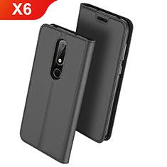 Handytasche Stand Schutzhülle Leder L01 für Nokia X6 Schwarz