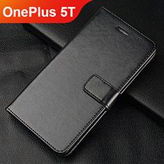 Handytasche Stand Schutzhülle Leder L01 für OnePlus 5T A5010 Schwarz