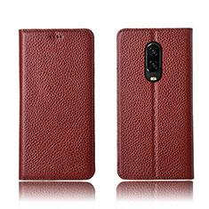 Handytasche Stand Schutzhülle Leder L01 für OnePlus 6T Braun