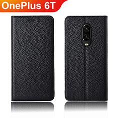 Handytasche Stand Schutzhülle Leder L01 für OnePlus 6T Schwarz
