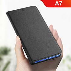 Handytasche Stand Schutzhülle Leder L01 für Oppo A7 Schwarz
