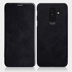 Handytasche Stand Schutzhülle Leder L01 für Samsung Galaxy A6 Plus (2018) Schwarz