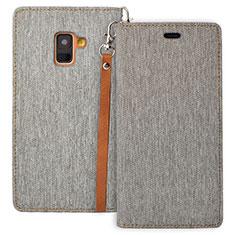 Handytasche Stand Schutzhülle Leder L01 für Samsung Galaxy A8 (2018) A530F Grau