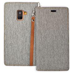 Handytasche Stand Schutzhülle Leder L01 für Samsung Galaxy A8 (2018) Duos A530F Grau