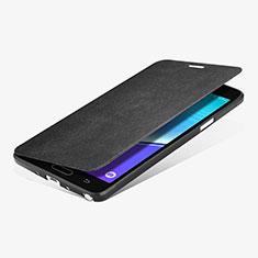 Handytasche Stand Schutzhülle Leder L01 für Samsung Galaxy Note 4 Duos N9100 Dual SIM Schwarz