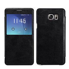 Handytasche Stand Schutzhülle Leder L01 für Samsung Galaxy Note 5 N9200 N920 N920F Schwarz