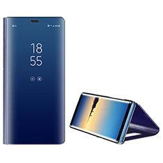 Handytasche Stand Schutzhülle Leder L01 für Samsung Galaxy Note 8 Duos N950F Blau