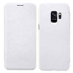 Handytasche Stand Schutzhülle Leder L01 für Samsung Galaxy S9 Weiß