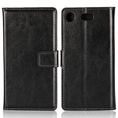 Handytasche Stand Schutzhülle Leder L01 für Sony Xperia XZ1 Compact Schwarz