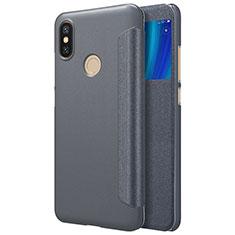 Handytasche Stand Schutzhülle Leder L01 für Xiaomi Mi A2 Schwarz