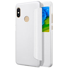Handytasche Stand Schutzhülle Leder L01 für Xiaomi Redmi Note 5 AI Dual Camera Weiß